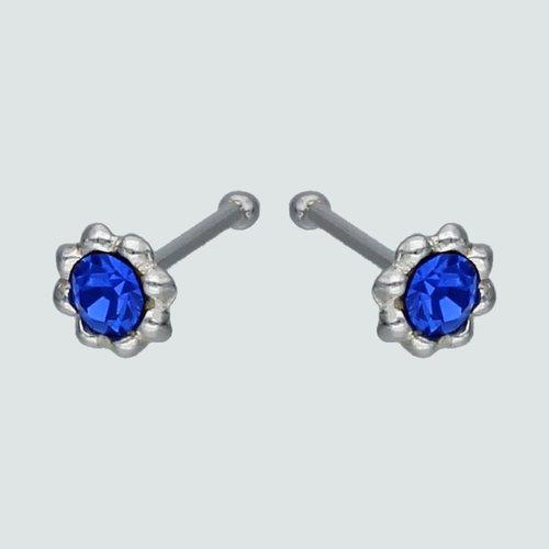 Aro Piercing Flor Circón Azul