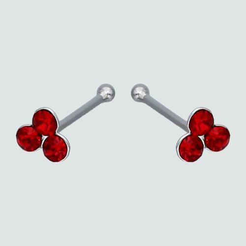 Aro Piercing Circulos con Circón Rubí