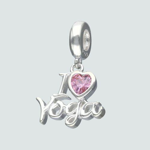Colgante Charm I Love Yoga  Corazón Circón Rosa Francia