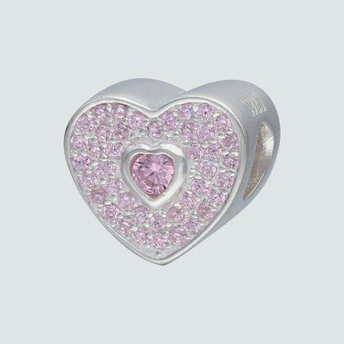 Colgante Charm Corazón con Circones Rosa