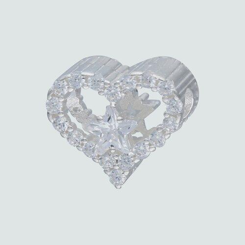 Colgante Charm Corazón y Estrellas con Circones