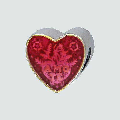 Colgante Charm Corazón Esmaltado Te Amo