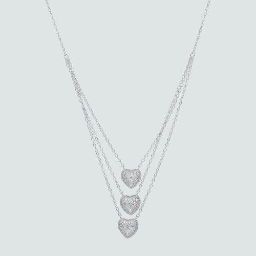 Collar Triple Corazones con Circones