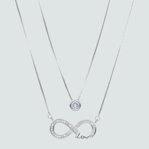 Collar Doble Veneciano Infinito Love con Circones