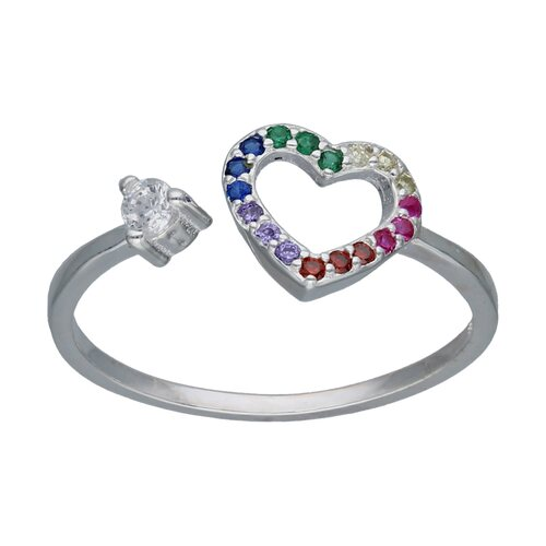 Anillo Corazón con Circones Multicolor