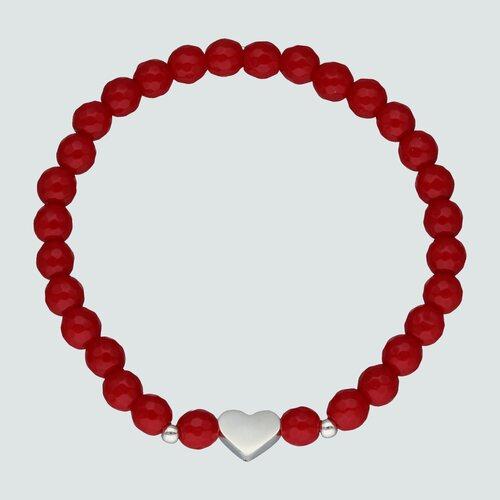 Pulsera Elástica Esferas Cristales Rojo Corazón