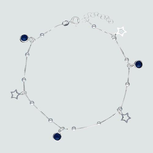 Tobillera Estrellas Circones Zafiro y Esferas