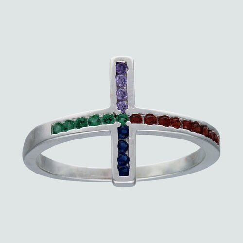 Anillo Cruz con Circones Multicolor