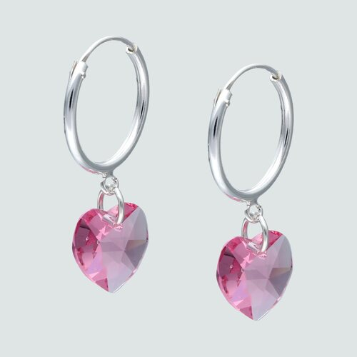 Aro Argolla Corazón Hecho con Cristal Swarovski® Rosado 16 mm
