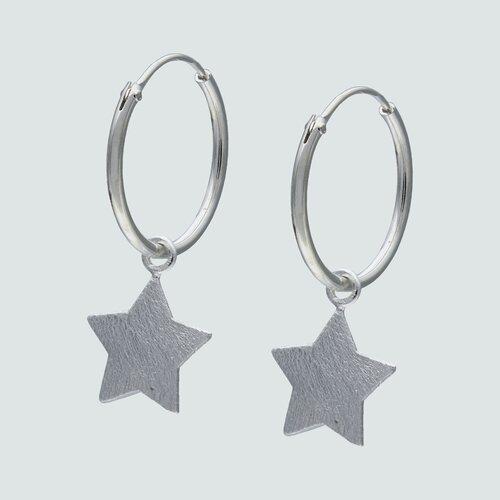 Aro Argolla Estrella Satinada 15 mm