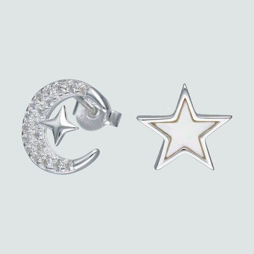 Aro Desigual Estrella Nácar y Media Luna con Circones