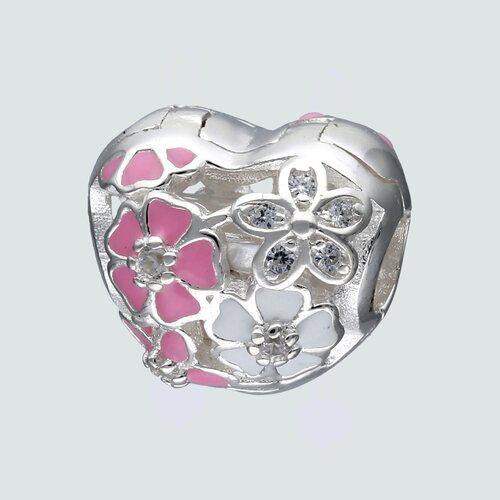 Colgante Charm Separador Corazón y Flores con Circón Esmaltadas