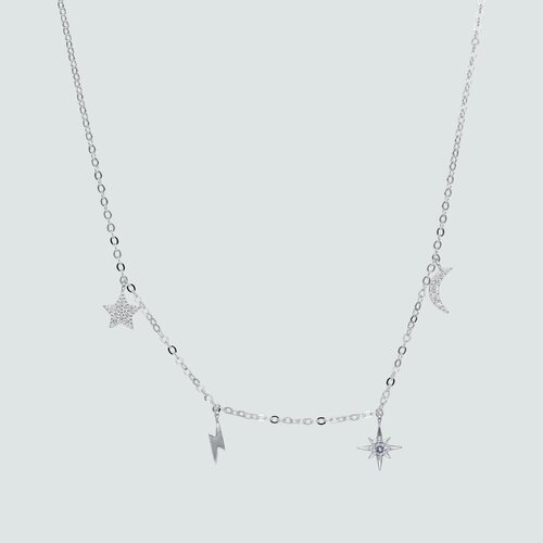 Collar Media Luna Rayo y Estrellas con Circones