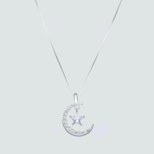 Collar Veneciano Media Luna y Estrella con Circones