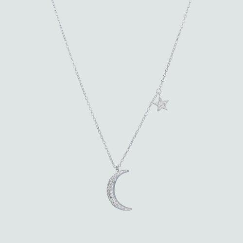 Collar Media Luna y Estrella con Circones