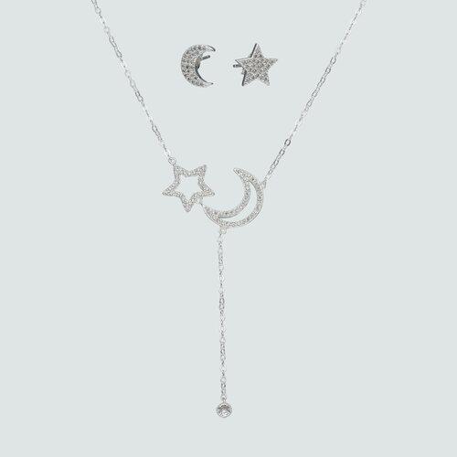 Set Collar y Aros Desiguales Media Luna y Estrella con Circones