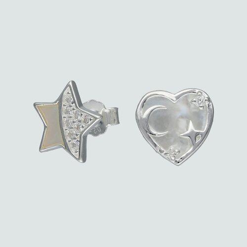 Aro Desigual Corazón Estrella con Nácar y Circones