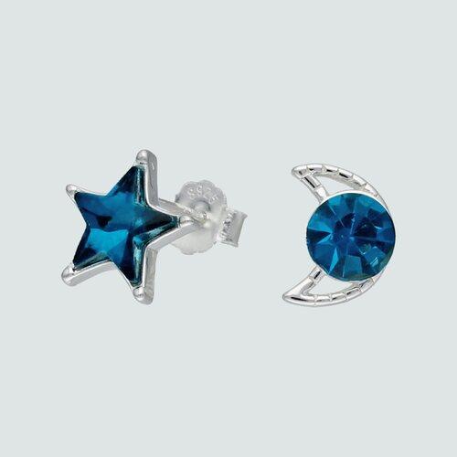 Aro Desigual Media Luna Estrella Hecho con Cristal Swarovski® Azul