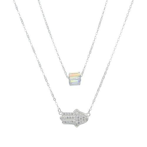 Collar Doble Mano de Fátima Circones Cubo Hecho con Cristal Swarovski®