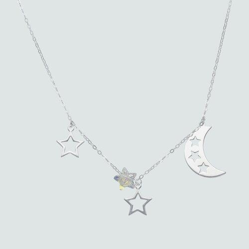 Collar Media Luna y Estrellas Hecho con Cristal Swarovski®