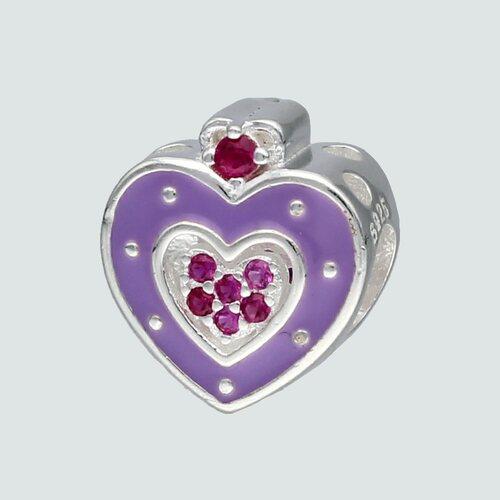 Colgante Charm Corazón Esmaltado con Circones Rubí