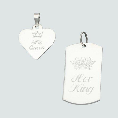 Colgante Pack de Placas Militar y Corazón Her King y His Queen