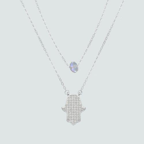 Collar Doble Ovalo Cristal y Mano de Fátima Circones