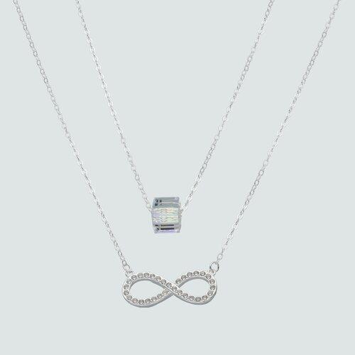 Collar Doble Infinito con Circones y Cubo Cristal