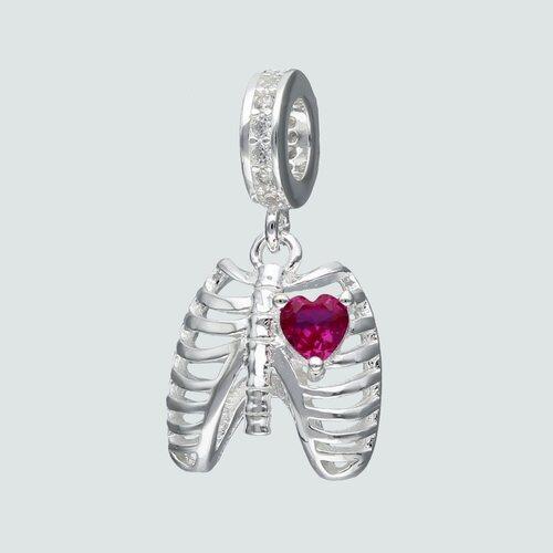 Colgante Charm Anatomía Corazón Circón Rubí