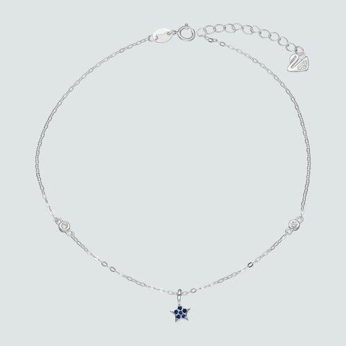 Tobillera Estrella con Circones Zafiro