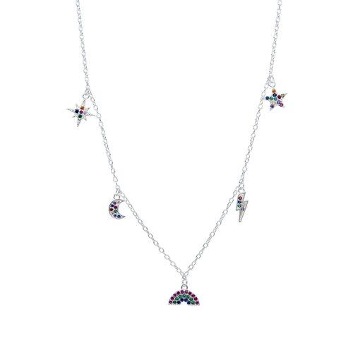 Collar Estrellas Media Luna y Rayo con Circones Multicolor