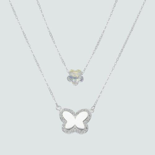 Collar Doble Flor Cristal y Mariposa con Circones