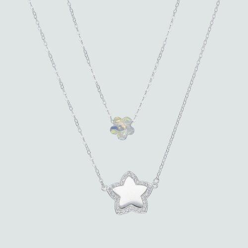 Collar Doble Flor Cristal y Estrella con Circones
