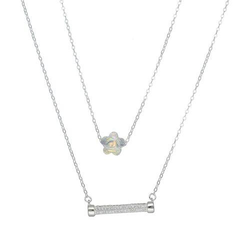 Collar Doble Flor Cristal y Cilindro con Circones