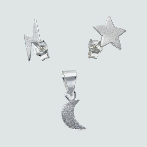 Conjunto Desigual Estrella Media Luna y Rayo Satinado