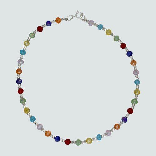 Tobillera Esferas Cristales Multicolor