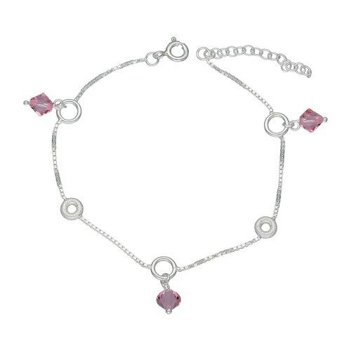 Pulsera Circulos Cristal Hecho con Swarovski® Rosado
