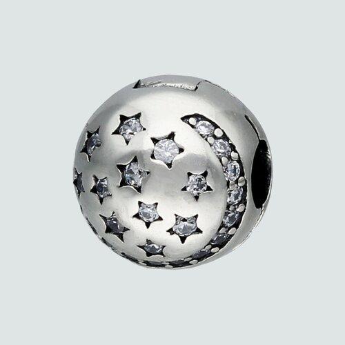 Colgante Charm Separador Media Luna Estrellas Circones