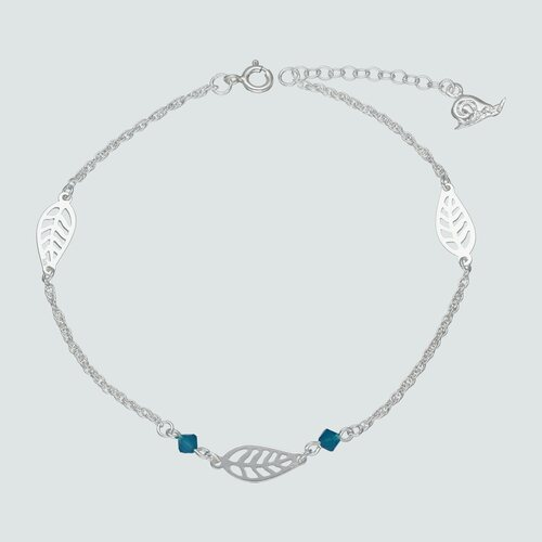 Tobillera Plumas Cristal Hecho con Swarovski® Azul
