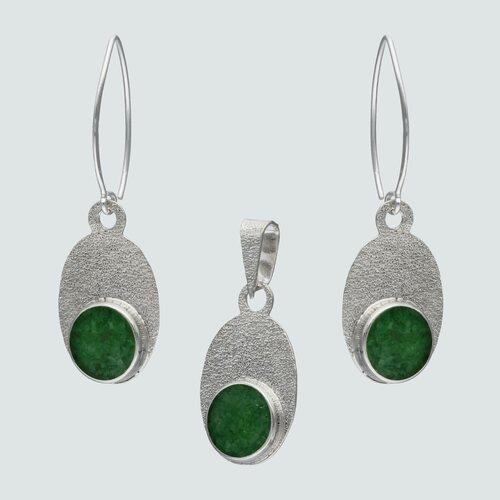 Conjunto Ovalado Martillado Piedra Picada Verde