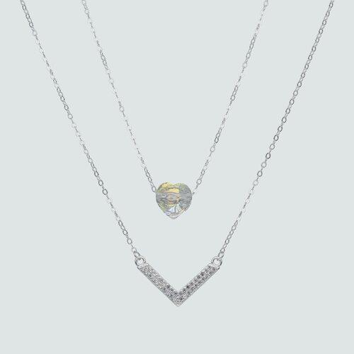 Collar Doble del Deseo y Corazón Hecho con Cristal Swarovski®