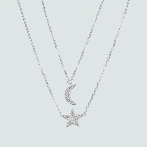 Colar Doble Estrella y Media Luna con Circones