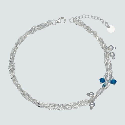 Tobillera Doble Singapur Hecho con Cristal Swarovski® Azul y Esferas