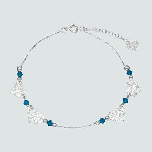 Tobillera Cristales Azules Esferas y Corazones Martillados