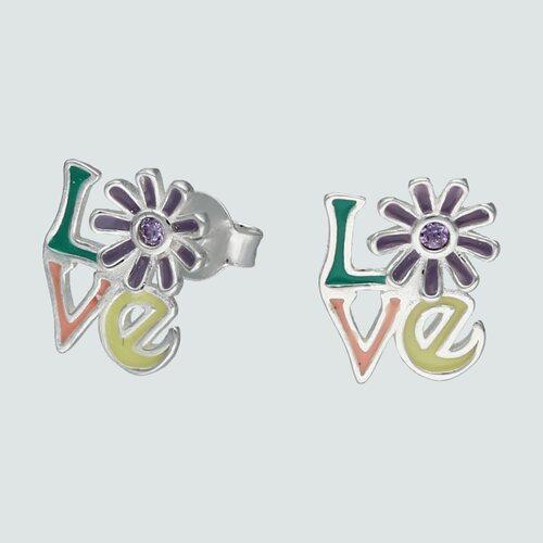 Aro Love Esmaltado Flor Circón Amatista
