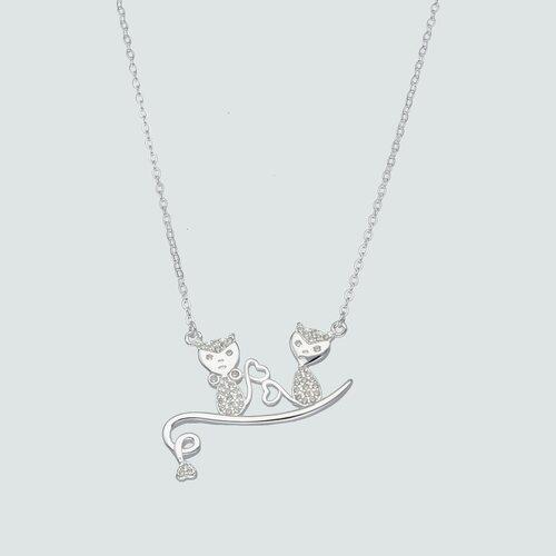 Collar Pareja Gatos con Circones