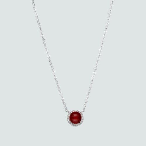 Collar Esfera Cristal Rojo y Circones