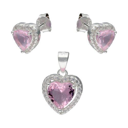 Conjunto Corazón Circón Rosa Francia