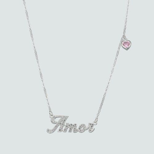 Collar Amor Corazón Circón Rosa Francia