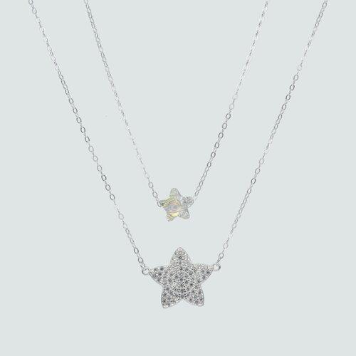Collar Doble Estrellas Hecho con Cristal Swarovski® y Circones